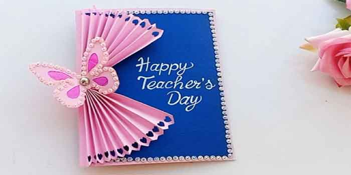 prepare hand-made greetings card for teachers day