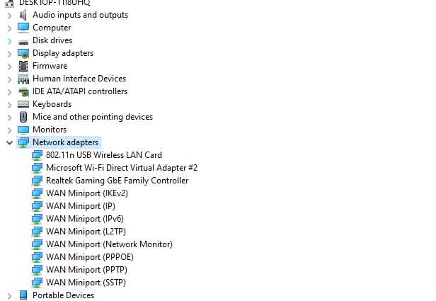 Look for Realtek or Wireless Wifi driver