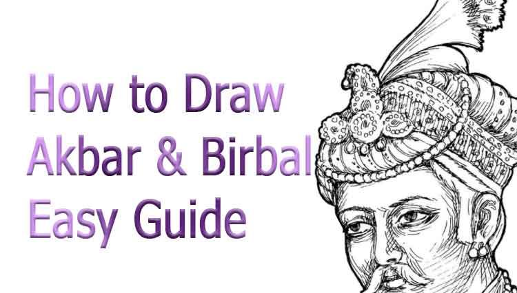 how to draw akbar and birbal